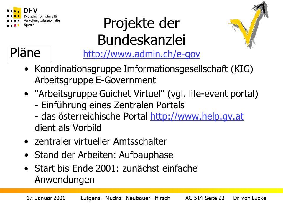 Projekte der Bundeskanzlei http://www.admin.ch/e-gov
