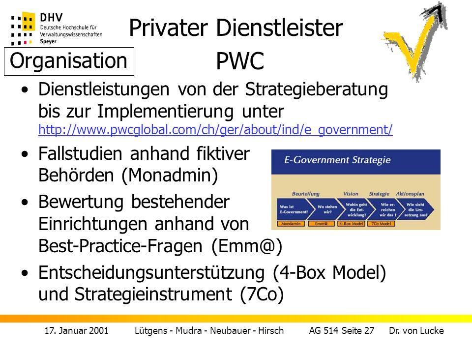 Privater Dienstleister PWC