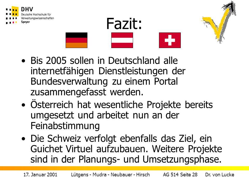 Fazit: Bis 2005 sollen in Deutschland alle internetfähigen Dienstleistungen der Bundesverwaltung zu einem Portal zusammengefasst werden.