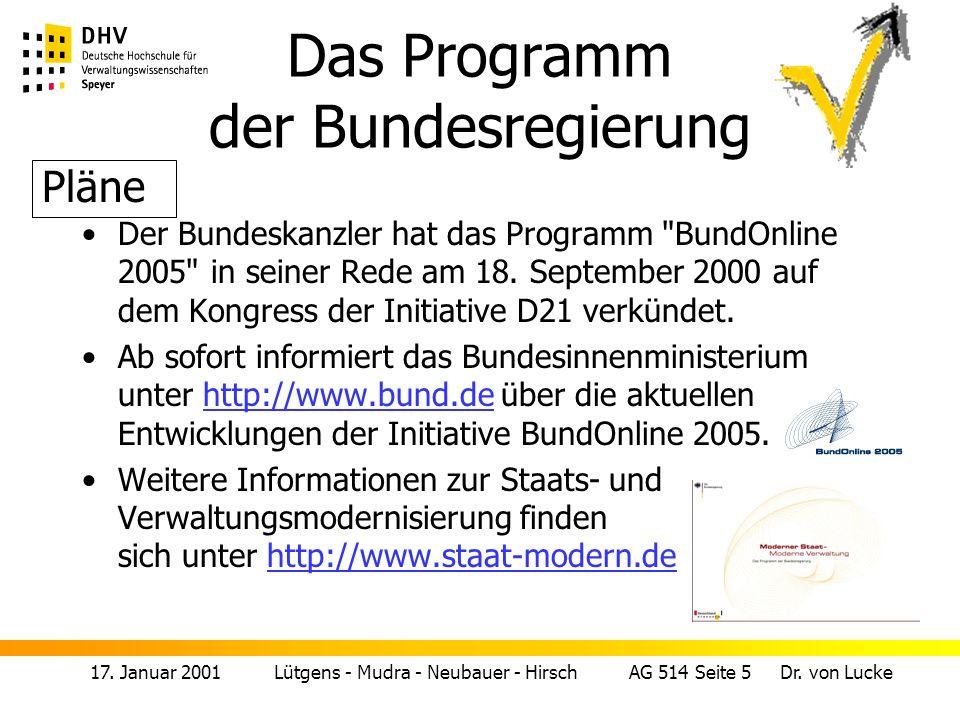 Das Programm der Bundesregierung
