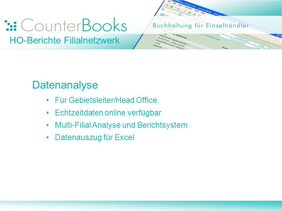 Datenanalyse HO-Berichte Filialnetzwerk Für Gebietsleiter/Head Office
