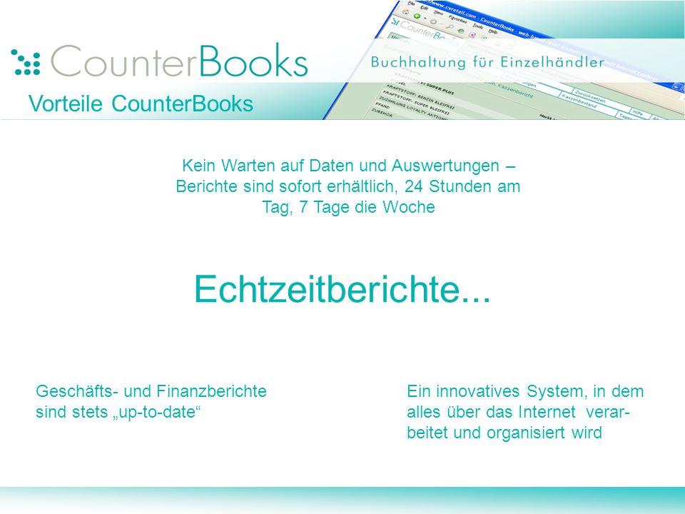 Echtzeitberichte... Vorteile CounterBooks
