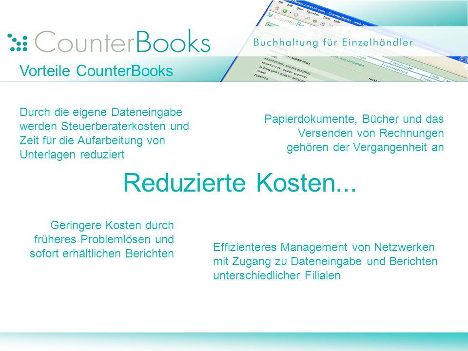 Reduzierte Kosten... Vorteile CounterBooks