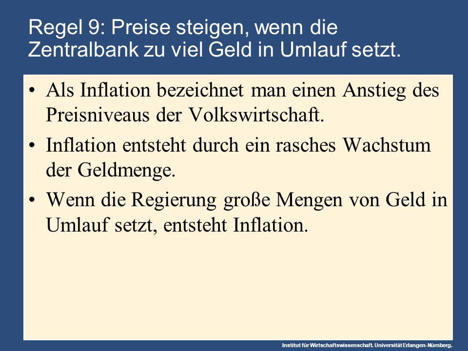 Inflation entsteht durch ein rasches Wachstum der Geldmenge.