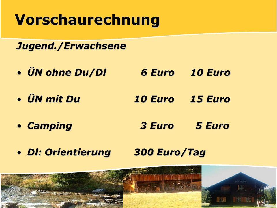 Vorschaurechnung Jugend./Erwachsene ÜN ohne Du/Dl 6 Euro 10 Euro