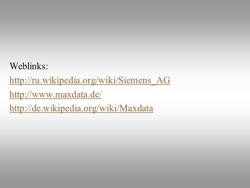 Weblinks: http://ru.wikipedia.org/wiki/Siemens_AG.