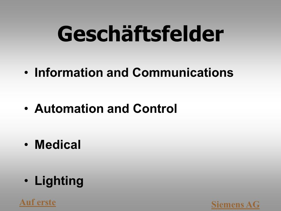 Geschäftsfelder Information and Communications Automation and Control