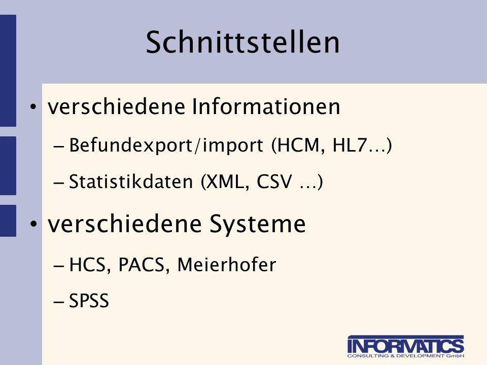 Schnittstellen verschiedene Systeme verschiedene Informationen