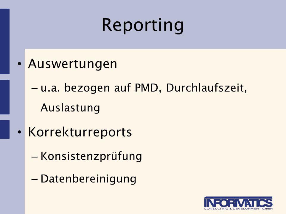 Reporting Auswertungen Korrekturreports