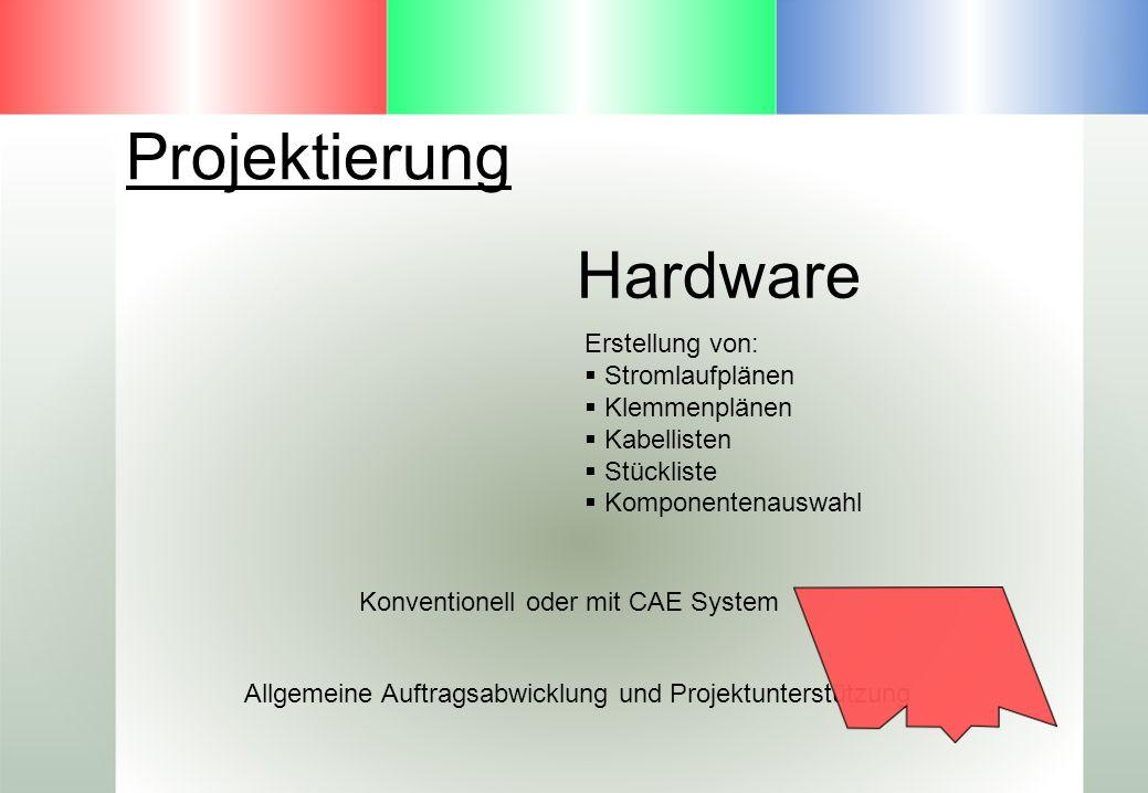Projektierung Hardware Erstellung von: Stromlaufplänen Klemmenplänen