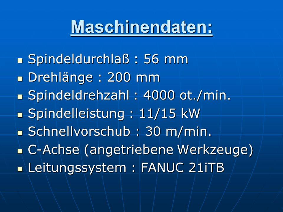 Maschinendaten: Spindeldurchlaß : 56 mm Drehlänge : 200 mm