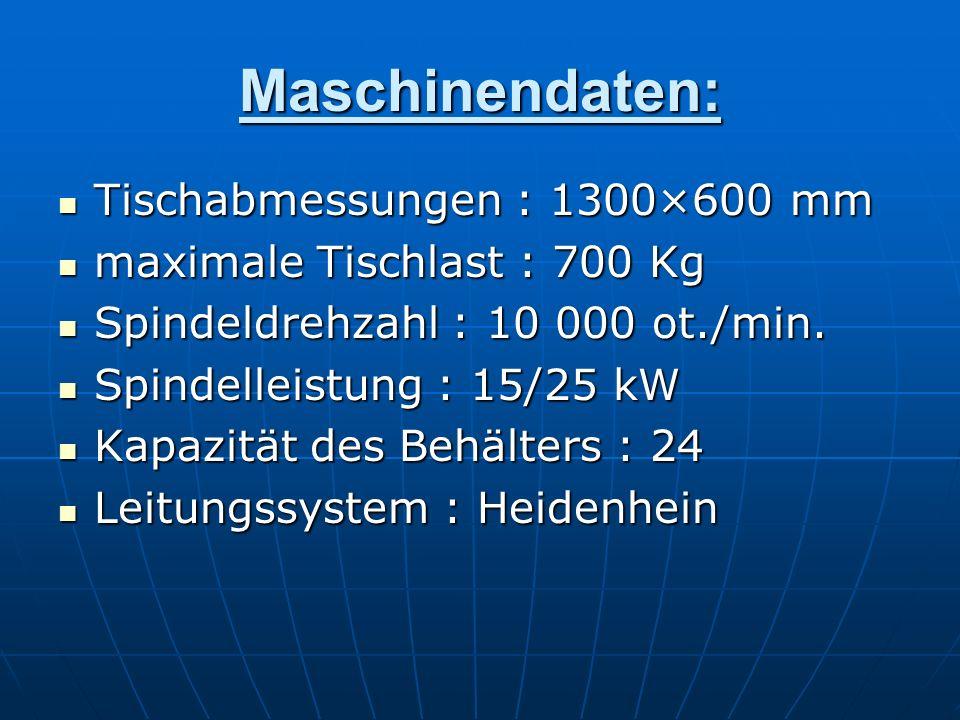 Maschinendaten: Tischabmessungen : 1300×600 mm