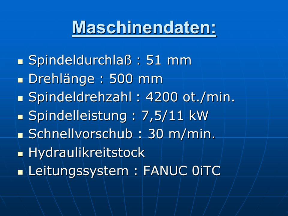 Maschinendaten: Spindeldurchlaß : 51 mm Drehlänge : 500 mm