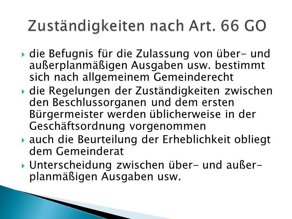 Zuständigkeiten nach Art. 66 GO
