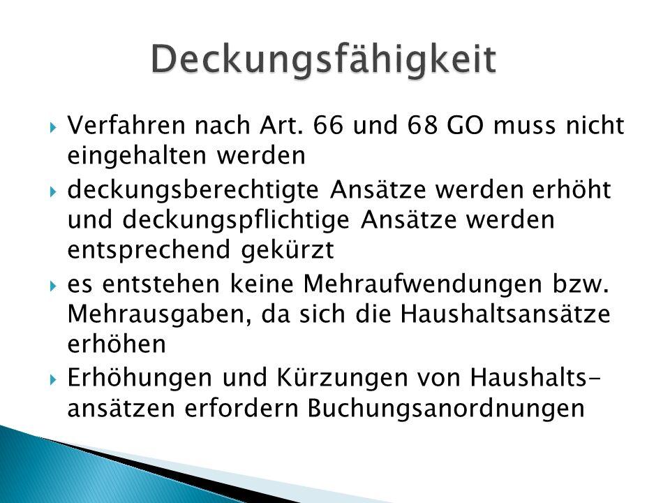 Deckungsfähigkeit Verfahren nach Art. 66 und 68 GO muss nicht eingehalten werden.