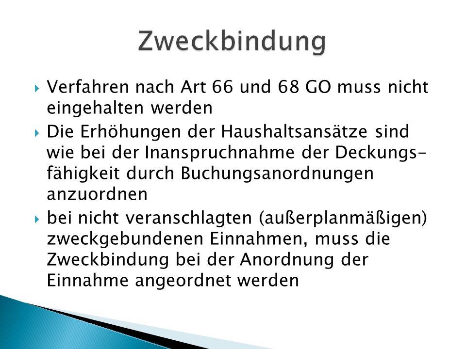 Zweckbindung Verfahren nach Art 66 und 68 GO muss nicht eingehalten werden.