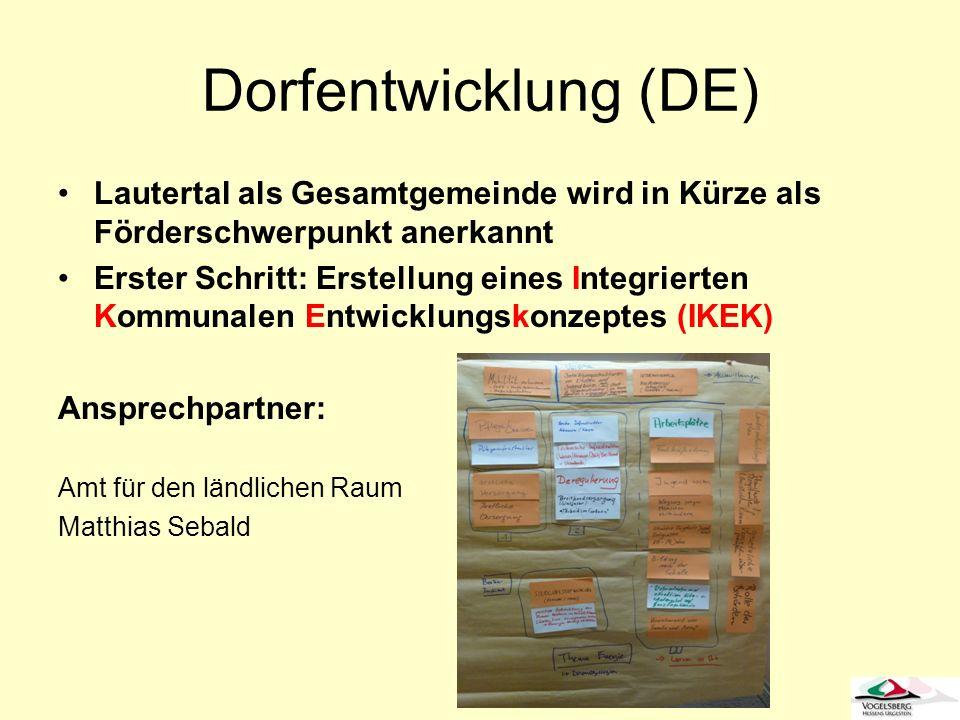 Dorfentwicklung (DE)Lautertal als Gesamtgemeinde wird in Kürze als Förderschwerpunkt anerkannt.