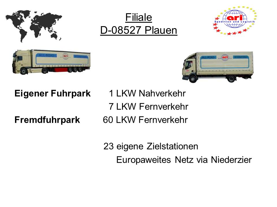 Filiale D-08527 Plauen Eigener Fuhrpark 1 LKW Nahverkehr