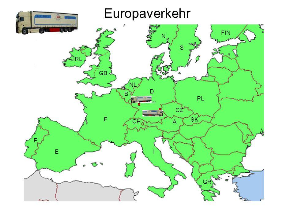 Europaverkehr FIN N S IRL GB NL D B PL CZ F SK A CH P E I GR N S IRL