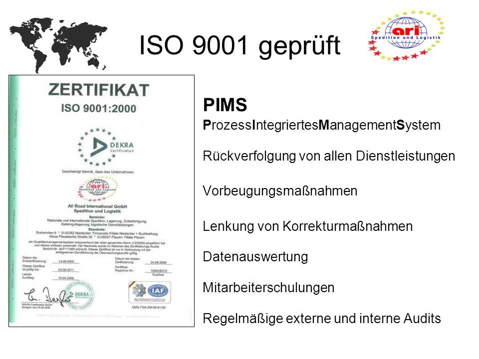 ISO 9001 geprüft PIMS ProzessIntegriertesManagementSystem