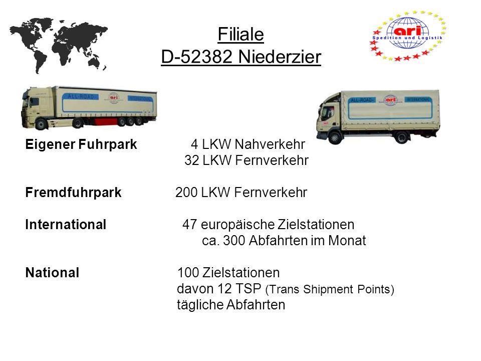 Filiale D-52382 Niederzier Eigener Fuhrpark 4 LKW Nahverkehr