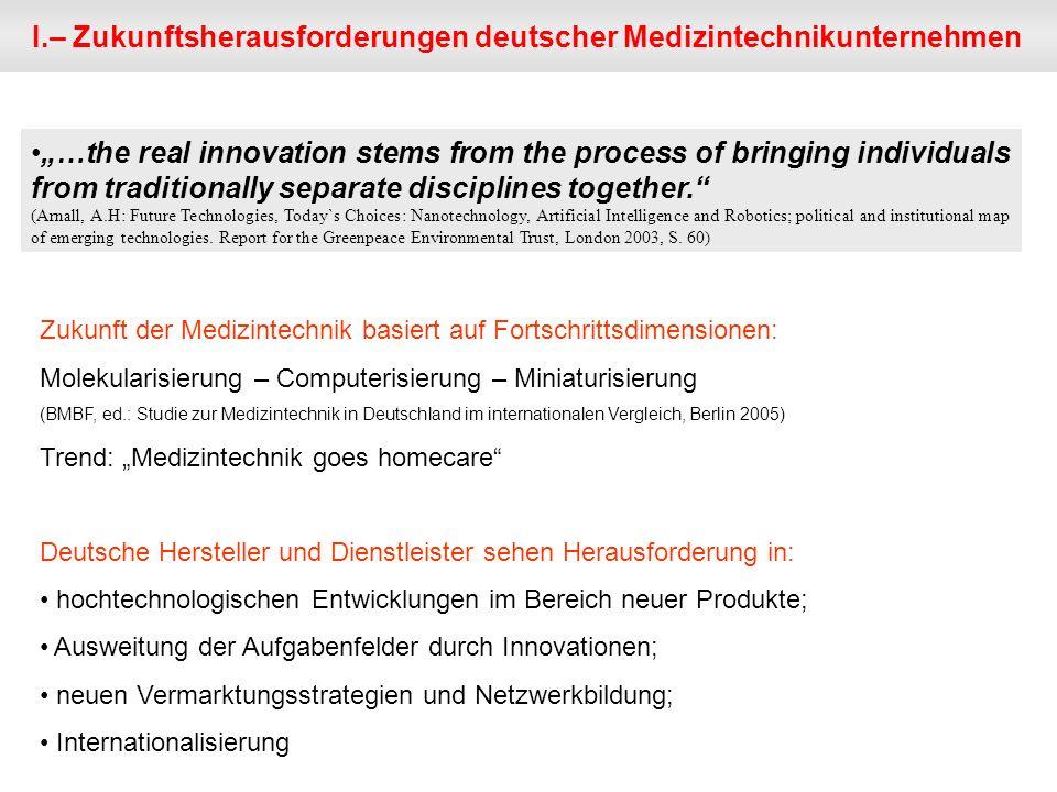 I.– Zukunftsherausforderungen deutscher Medizintechnikunternehmen