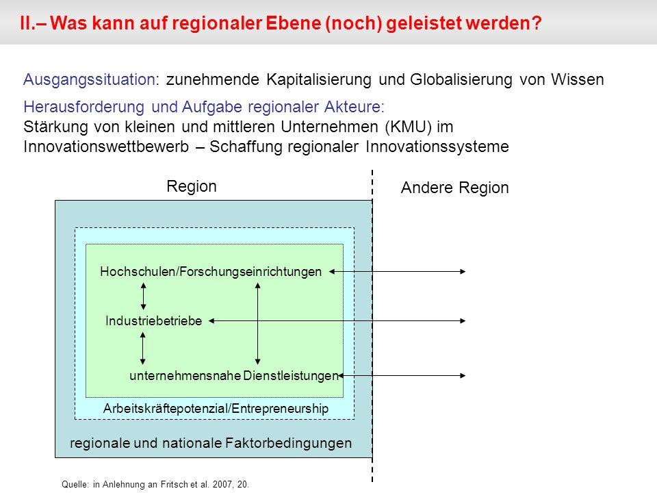 II.– Was kann auf regionaler Ebene (noch) geleistet werden