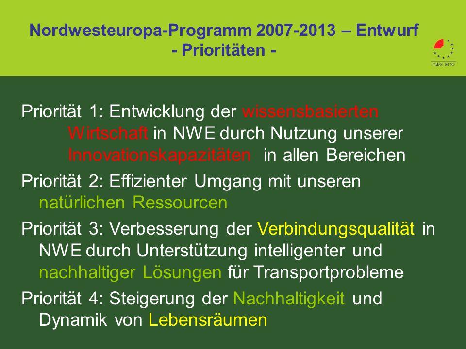 Nordwesteuropa-Programm 2007-2013 – Entwurf - Prioritäten -