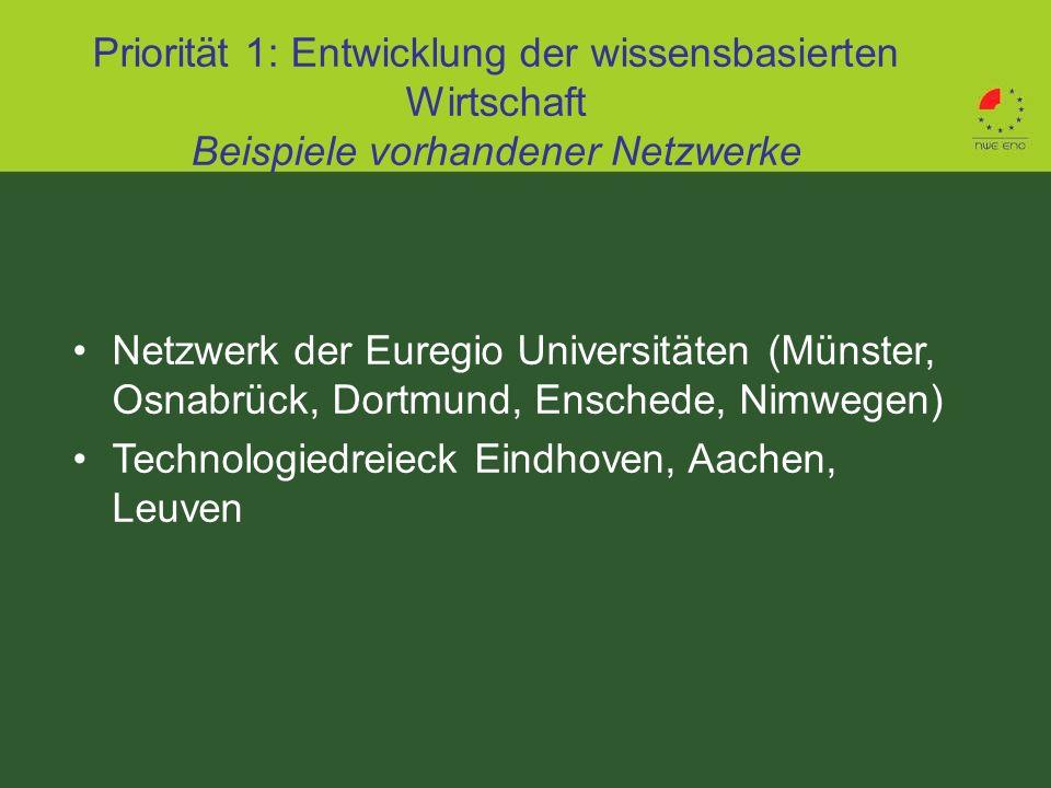 Priorität 1: Entwicklung der wissensbasierten Wirtschaft Beispiele vorhandener Netzwerke