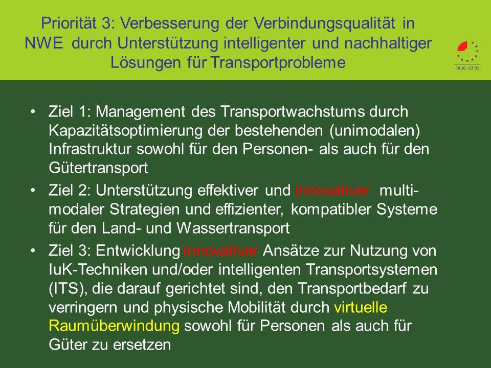 Priorität 3: Verbesserung der Verbindungsqualität in NWE durch Unterstützung intelligenter und nachhaltiger Lösungen für Transportprobleme