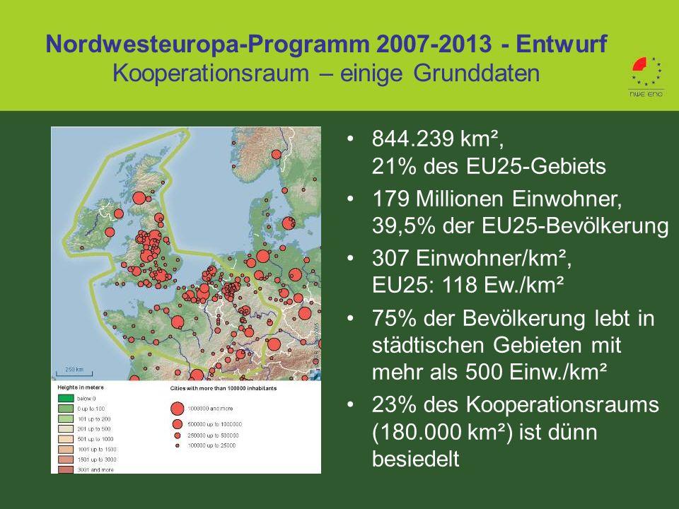 Nordwesteuropa-Programm 2007-2013 - Entwurf Kooperationsraum – einige Grunddaten