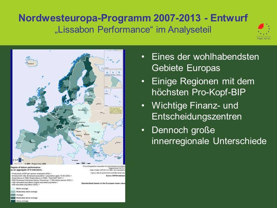"""Nordwesteuropa-Programm 2007-2013 - Entwurf """"Lissabon Performance im Analyseteil"""