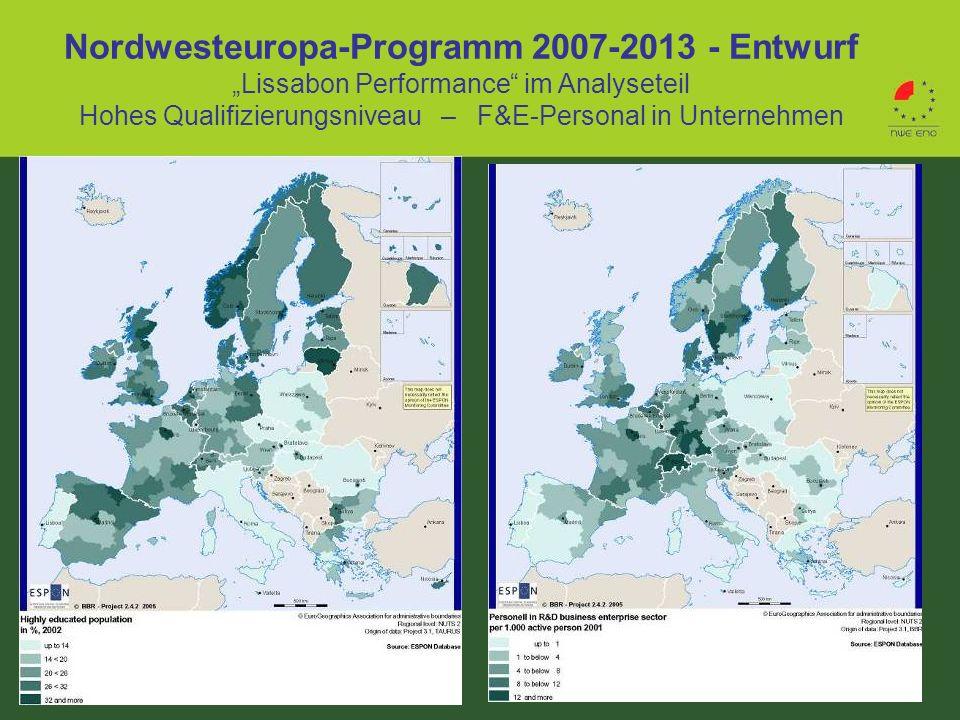 """Nordwesteuropa-Programm 2007-2013 - Entwurf """"Lissabon Performance im Analyseteil Hohes Qualifizierungsniveau – F&E-Personal in Unternehmen"""