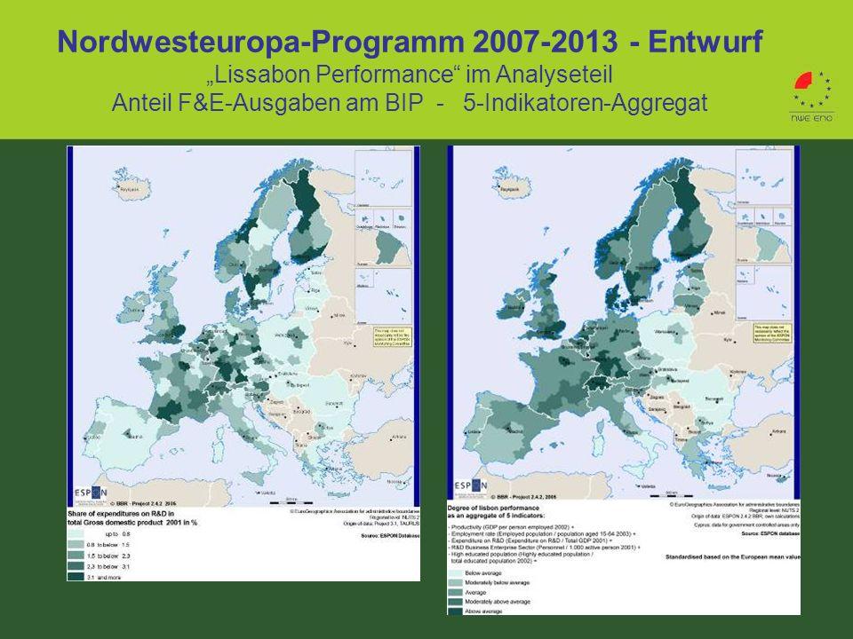 "Nordwesteuropa-Programm 2007-2013 - Entwurf ""Lissabon Performance im Analyseteil Anteil F&E-Ausgaben am BIP - 5-Indikatoren-Aggregat"