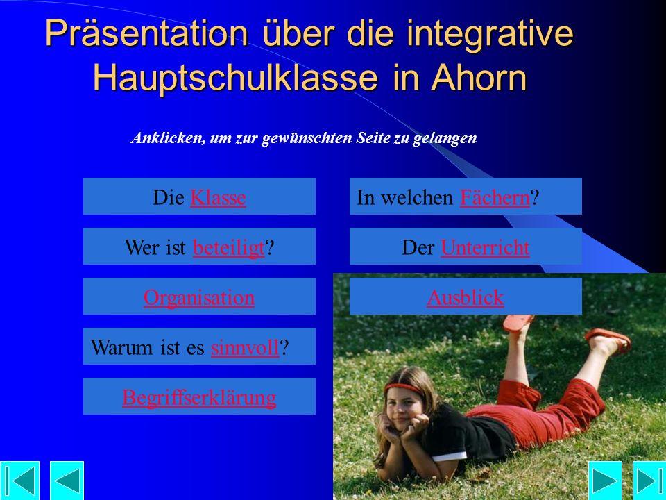 Präsentation über die integrative Hauptschulklasse in Ahorn