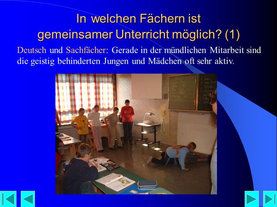In welchen Fächern ist gemeinsamer Unterricht möglich (1)