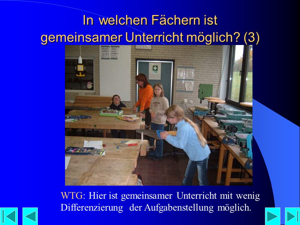 In welchen Fächern ist gemeinsamer Unterricht möglich (3)
