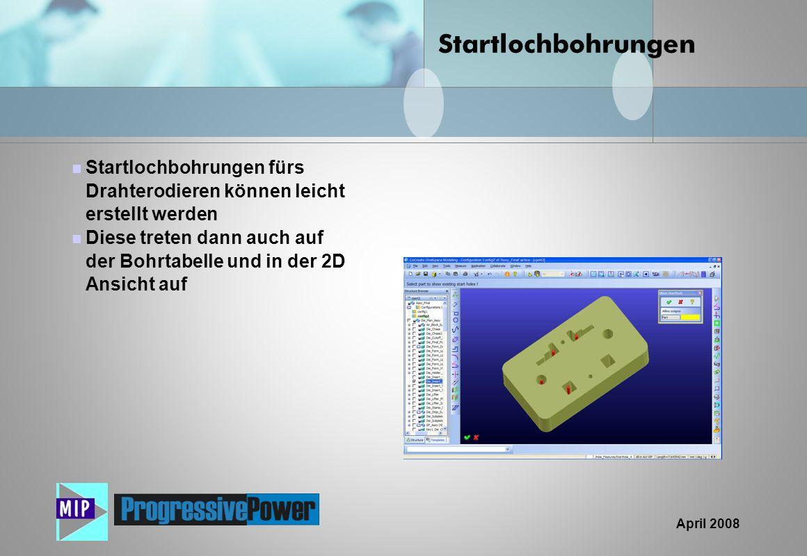 Startlochbohrungen Startlochbohrungen fürs Drahterodieren können leicht erstellt werden.