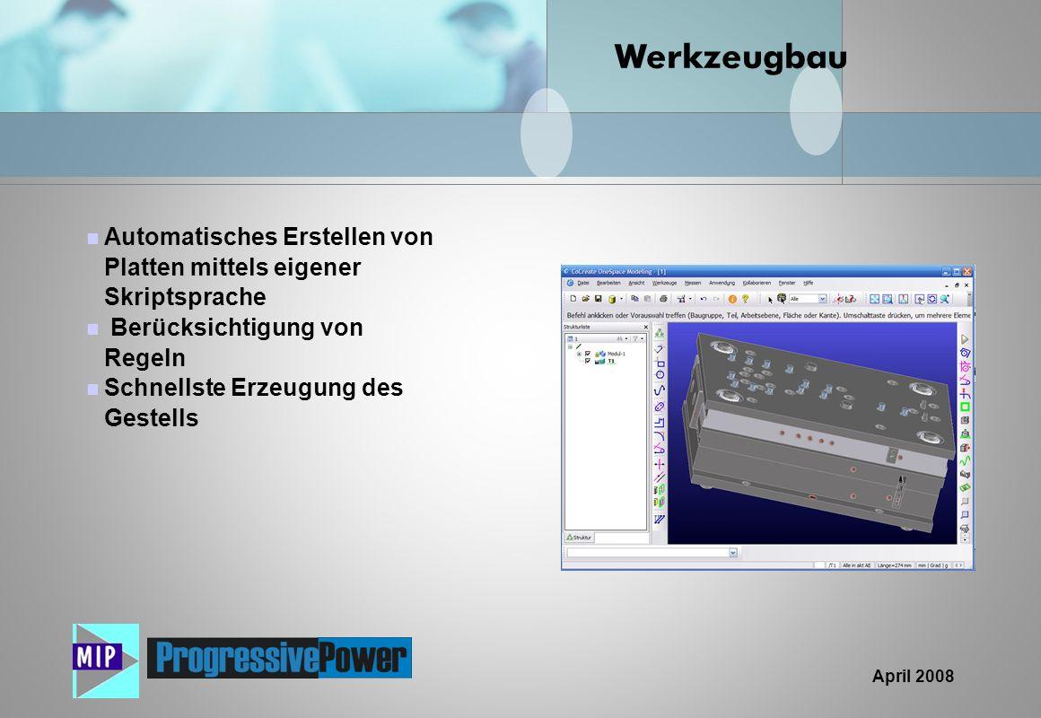 Werkzeugbau Automatisches Erstellen von Platten mittels eigener Skriptsprache. Berücksichtigung von Regeln.