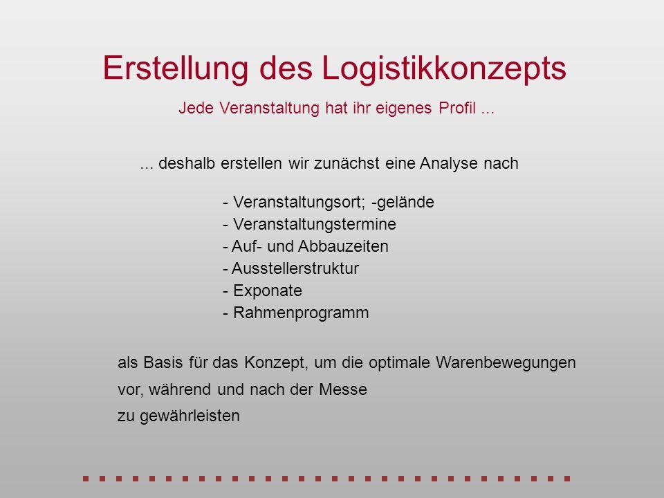 Erstellung des Logistikkonzepts