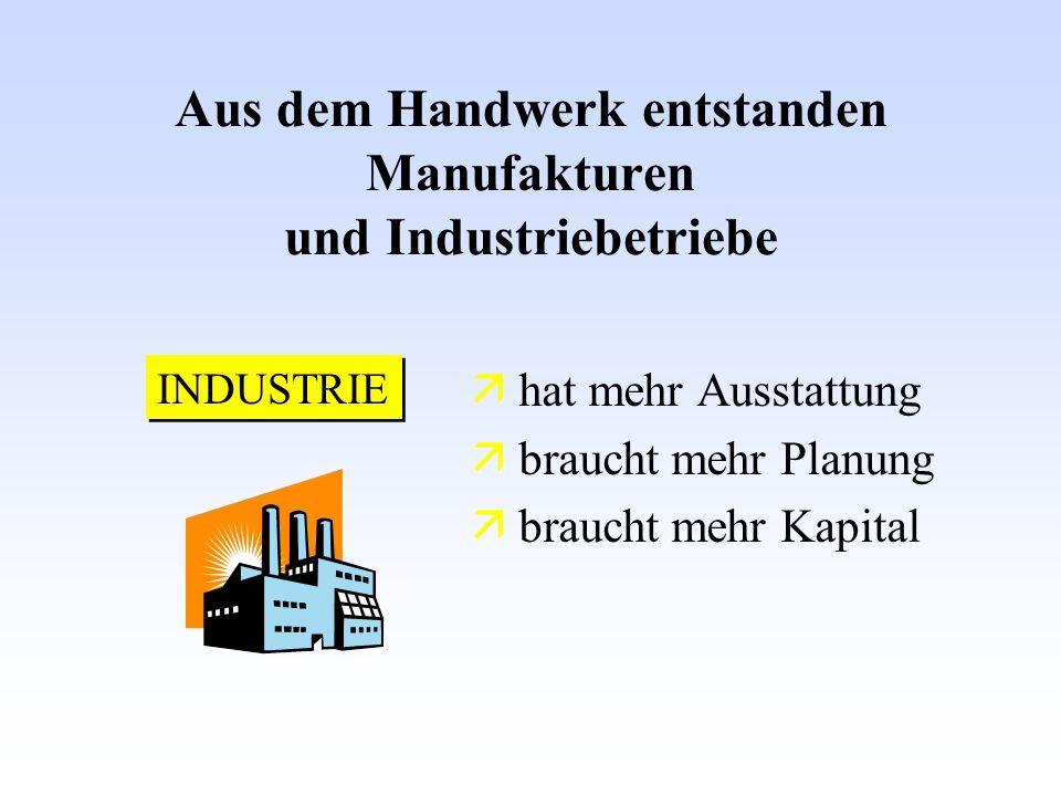 Aus dem Handwerk entstanden Manufakturen und Industriebetriebe