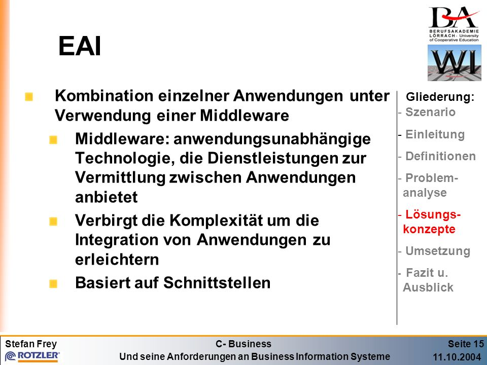 EAI Kombination einzelner Anwendungen unter Verwendung einer Middleware.