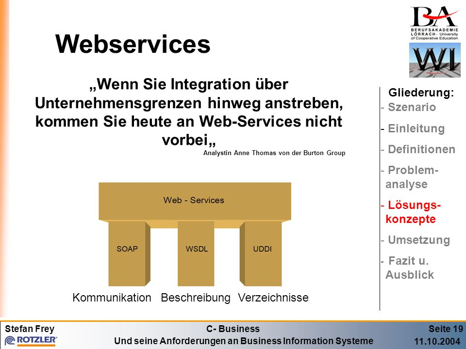 """Webservices""""Wenn Sie Integration über Unternehmensgrenzen hinweg anstreben, kommen Sie heute an Web-Services nicht vorbei"""""""