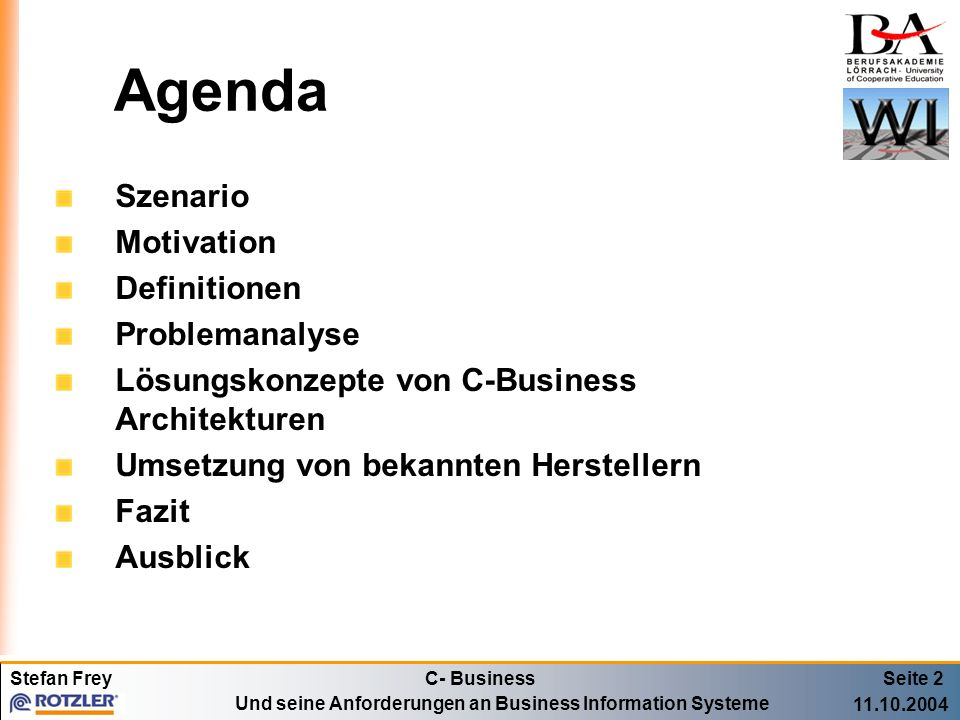 Agenda Szenario Motivation Definitionen Problemanalyse