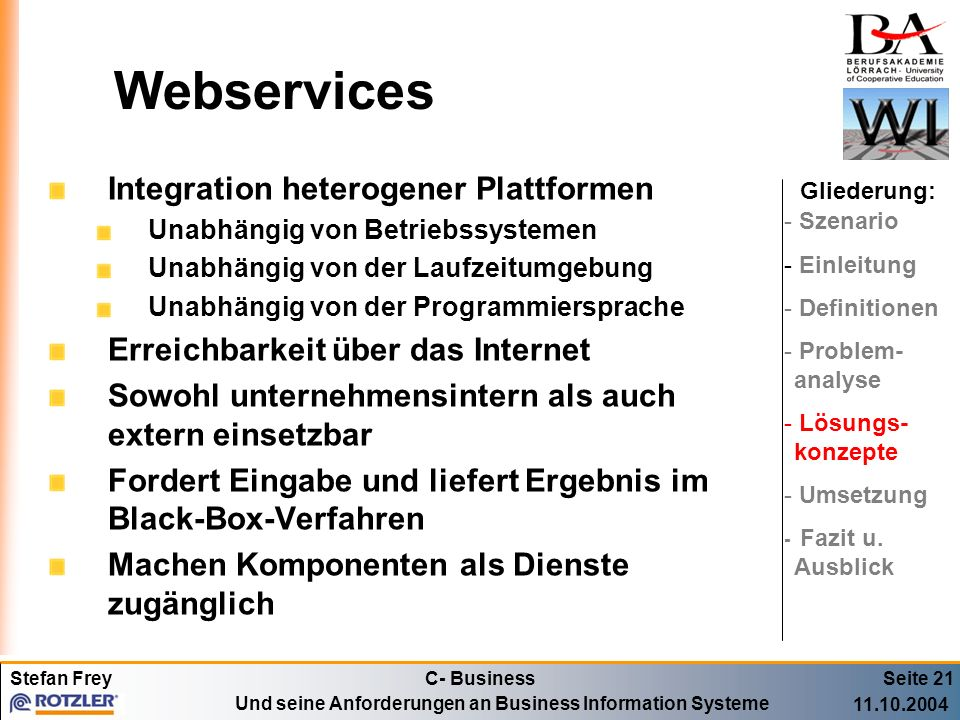 Webservices Integration heterogener Plattformen