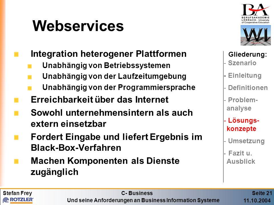 Webservices Integration heterogener Plattformen