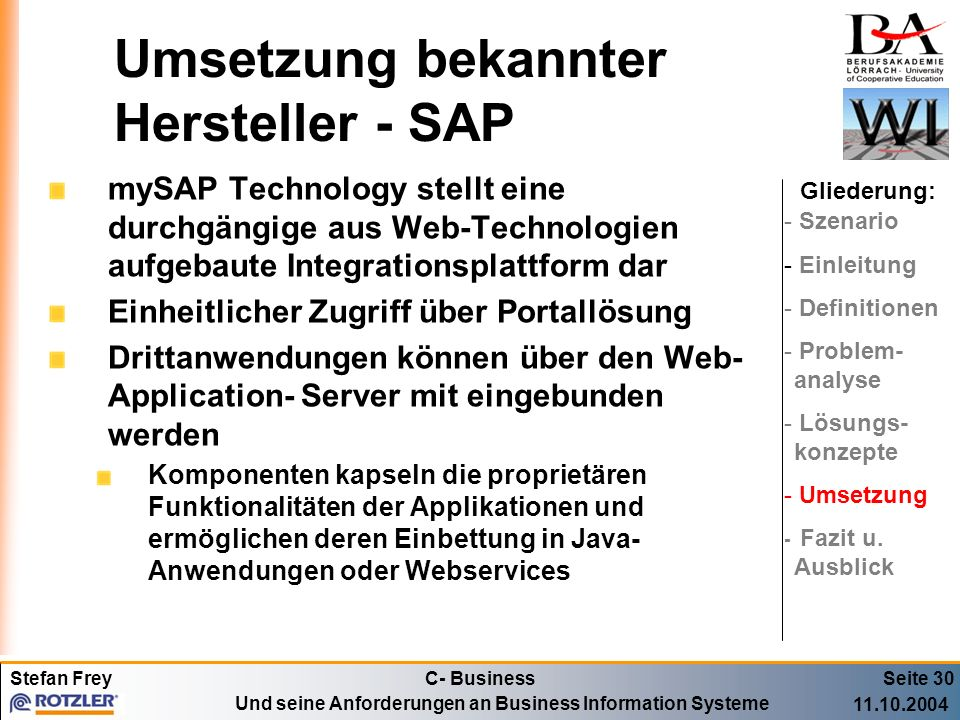 Umsetzung bekannter Hersteller - SAP