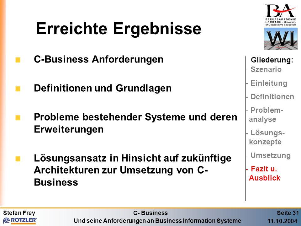 Erreichte Ergebnisse C-Business Anforderungen