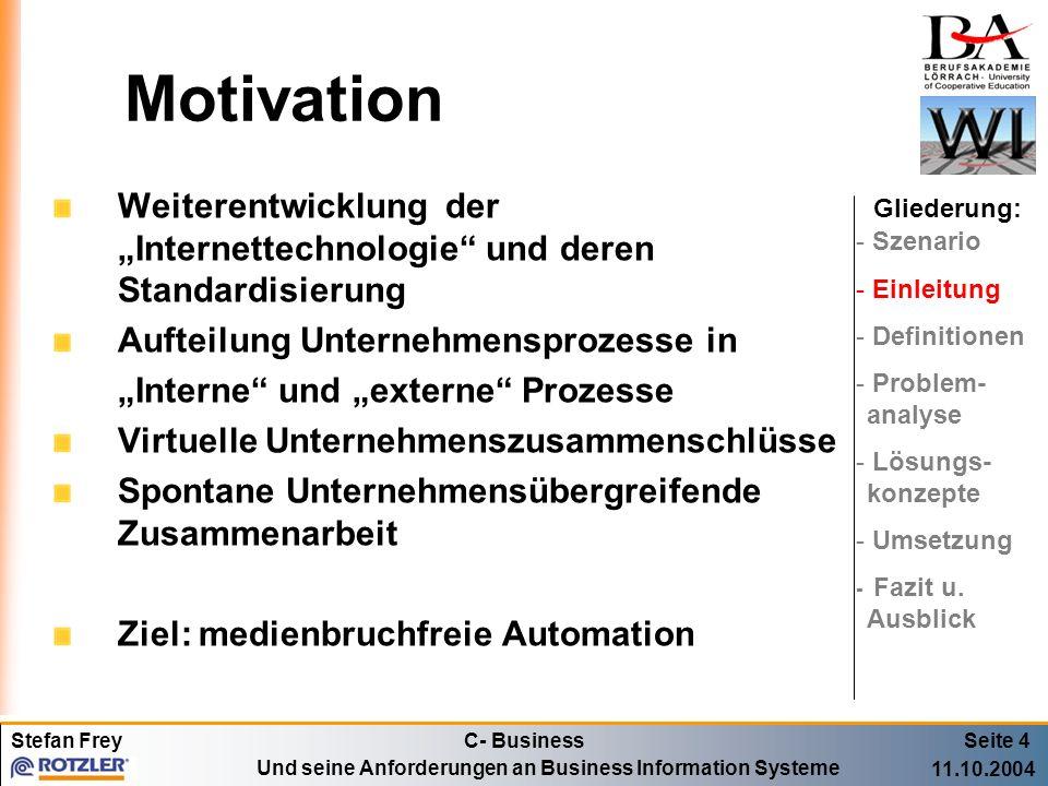 """Motivation Weiterentwicklung der """"Internettechnologie und deren Standardisierung. Aufteilung Unternehmensprozesse in."""