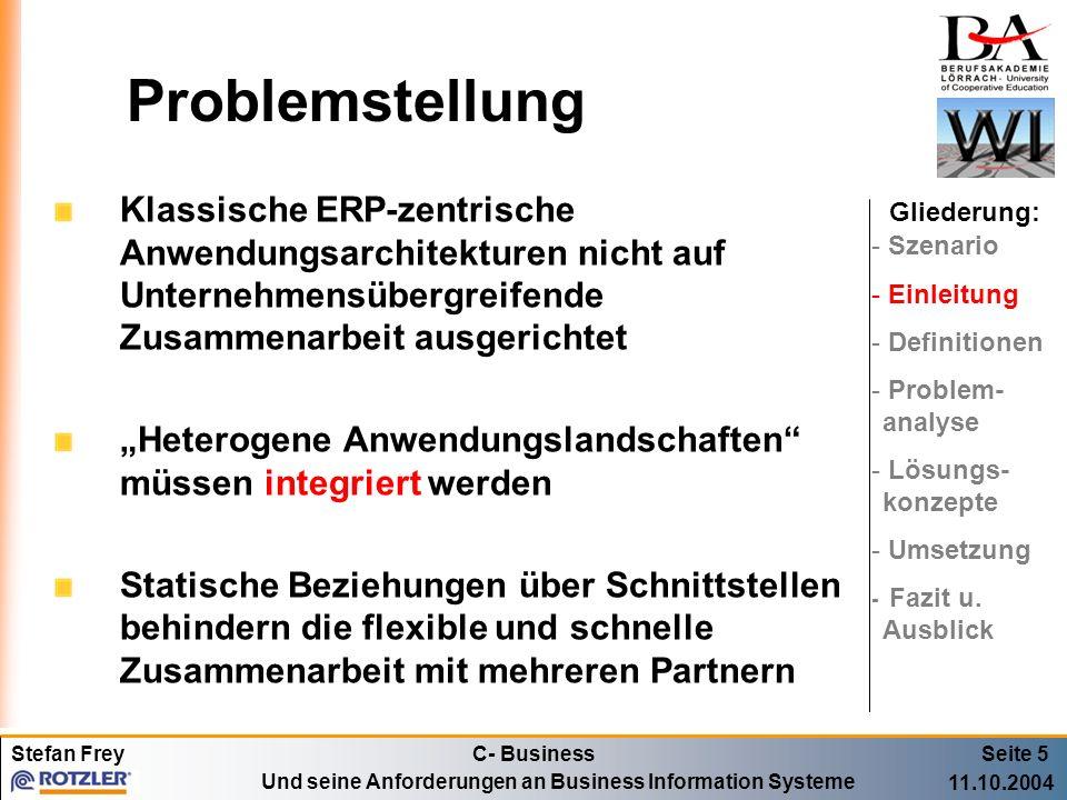 Problemstellung Klassische ERP-zentrische Anwendungsarchitekturen nicht auf Unternehmensübergreifende Zusammenarbeit ausgerichtet.
